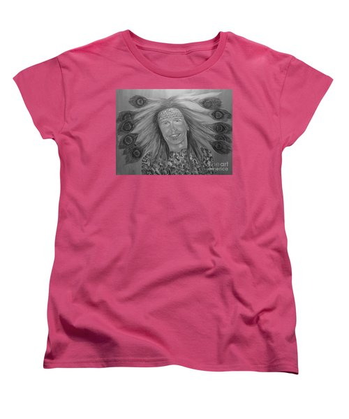 Women's T-Shirt (Standard Cut) featuring the painting Steven Tyler Art by Jeepee Aero