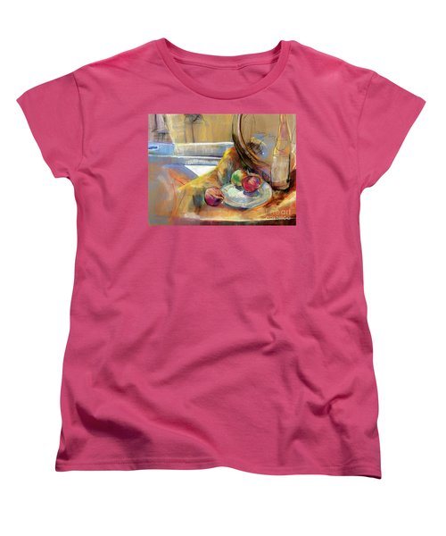 Women's T-Shirt (Standard Cut) featuring the painting Still Life With Onions by Daun Soden-Greene
