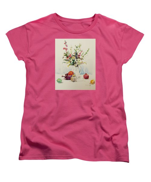 Women's T-Shirt (Standard Cut) featuring the painting Still Life With Pomegranate by Becky Kim
