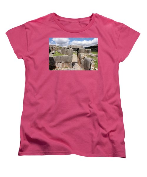 Women's T-Shirt (Standard Cut) featuring the photograph Stone Doorway At Sacsaywaman by Aidan Moran