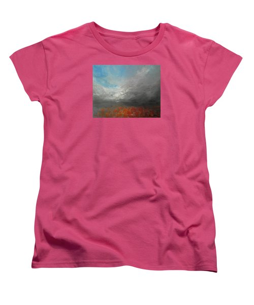 Women's T-Shirt (Standard Cut) featuring the painting Storm Clouds by Jane See