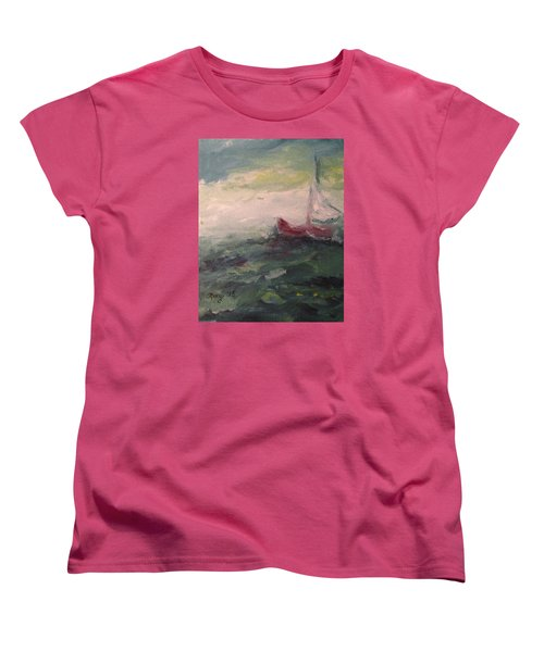 Stormy Sailboat Women's T-Shirt (Standard Cut) by Roxy Rich