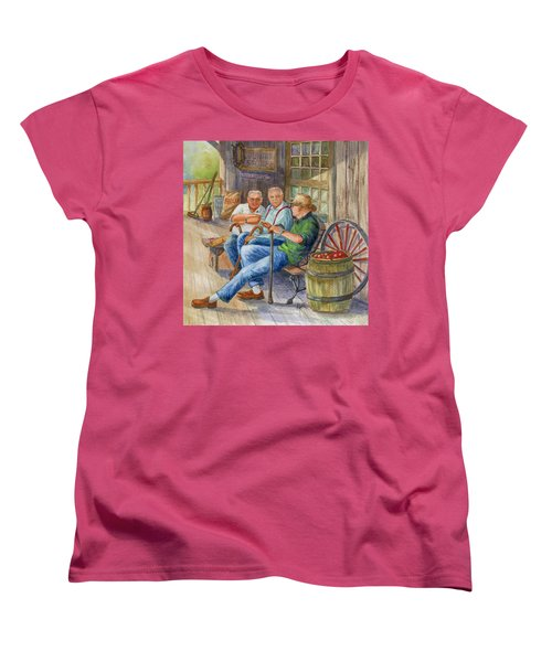 Women's T-Shirt (Standard Cut) featuring the painting Storyteller Friends by Marilyn Smith