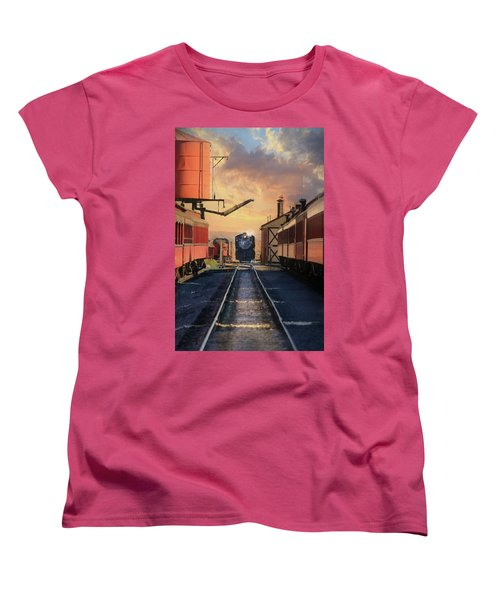 Women's T-Shirt (Standard Cut) featuring the photograph Strasburg Railroad Station by Lori Deiter