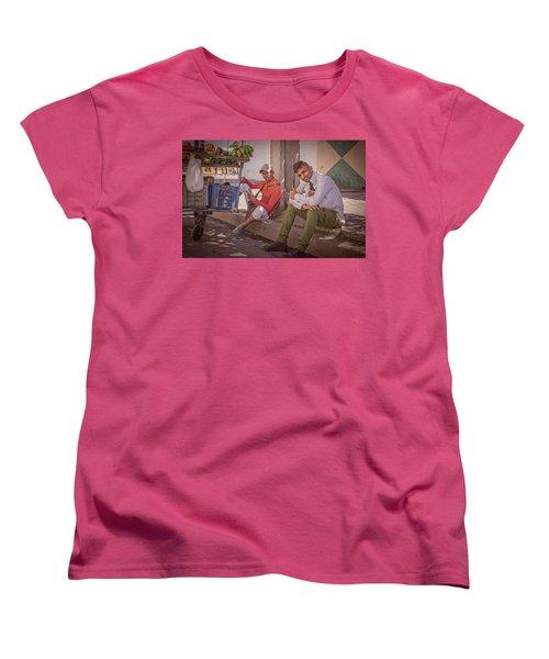 Women's T-Shirt (Standard Cut) featuring the photograph Street Vendors In Cienfuegos Cuba by Joan Carroll