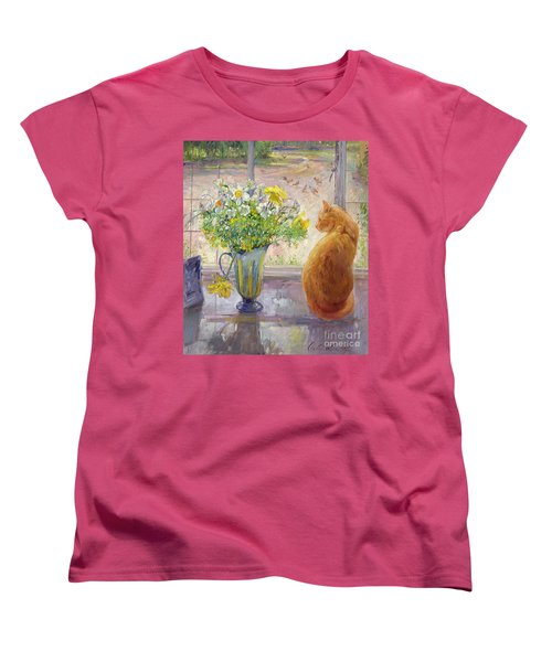 Striped Jug With Spring Flowers Women's T-Shirt (Standard Cut) by Timothy Easton