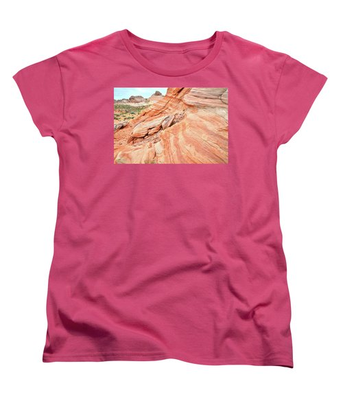 Women's T-Shirt (Standard Cut) featuring the photograph Striped Sandstone Along Park Road In Valley Of Fire by Ray Mathis