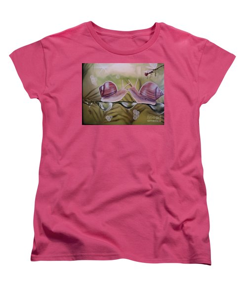 Sue And Sammy Snail Women's T-Shirt (Standard Cut) by Dianna Lewis