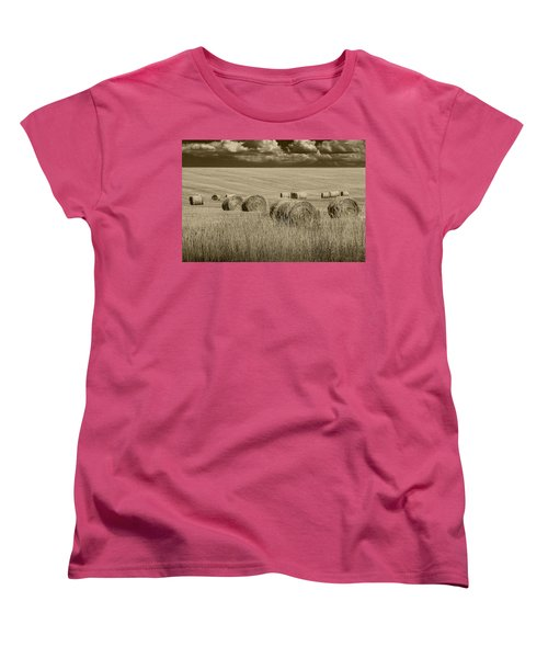 Summer Harvest Field With Hay Bales In Sepia Women's T-Shirt (Standard Cut)
