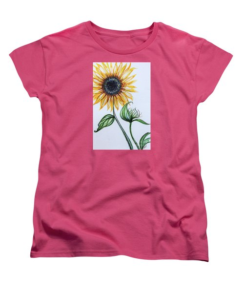 Women's T-Shirt (Standard Cut) featuring the painting Sunflower Botanical by Elizabeth Robinette Tyndall