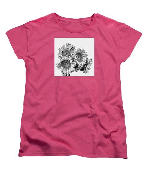 Sunflower Bouquet Bw Women's T-Shirt (Standard Cut) by Shirley Mangini