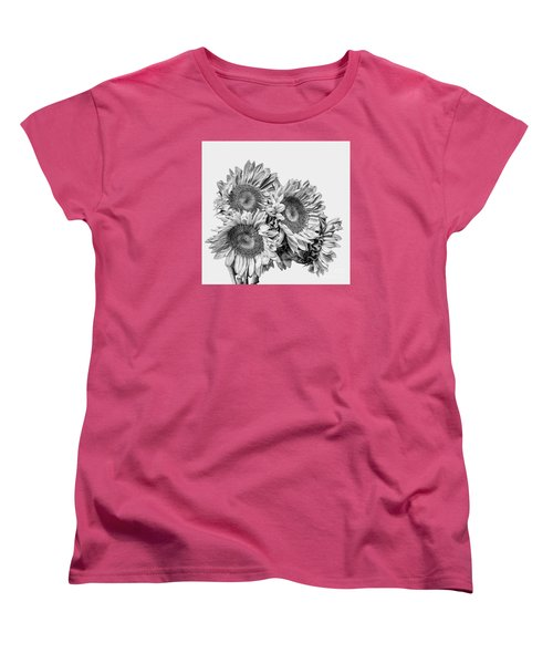 Sunflower Bouquet Bw Women's T-Shirt (Standard Cut)