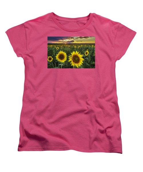Women's T-Shirt (Standard Cut) featuring the photograph Sunflower Sunset by Kristal Kraft