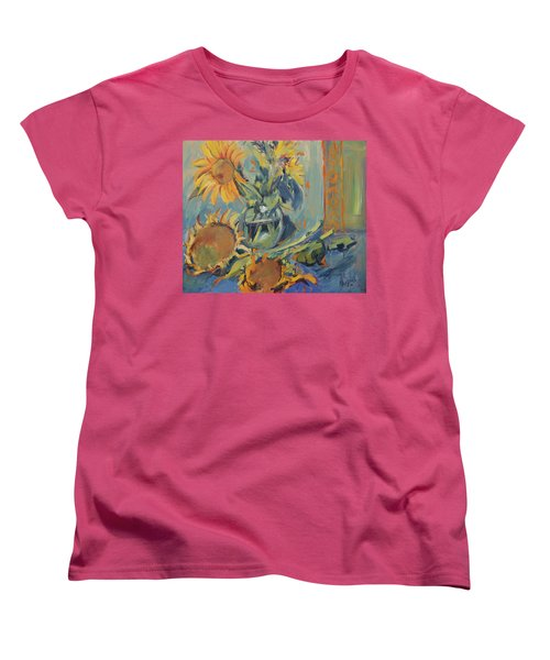 Sunflowers Fresh And Dried With Vase Women's T-Shirt (Standard Fit)