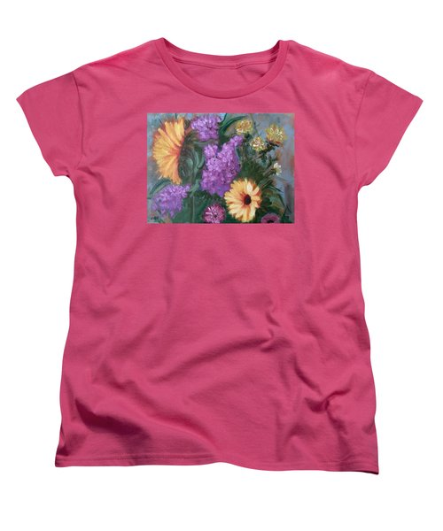 Women's T-Shirt (Standard Cut) featuring the painting Sunflowers by Sharon Schultz