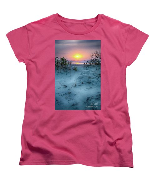 Women's T-Shirt (Standard Cut) featuring the painting Sunrise Hike On The Outer Banks Ap by Dan Carmichael