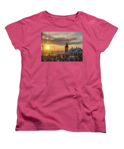 Sunrise West Quoddy Lighthouse Women's T-Shirt (Standard Cut) by Trace Kittrell