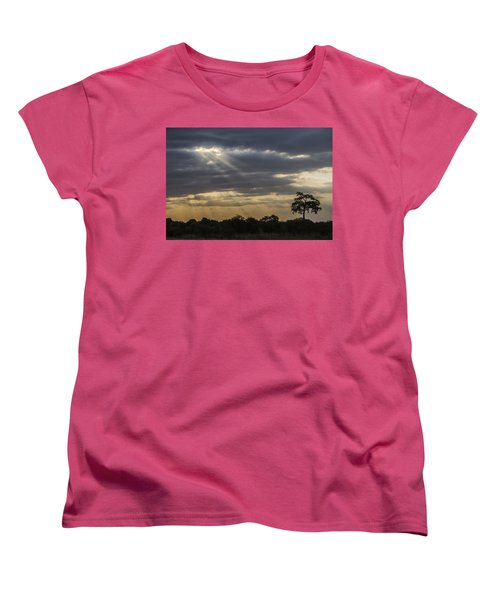 Women's T-Shirt (Standard Cut) featuring the tapestry - textile Sunset Africa 2 by Kathy Adams Clark