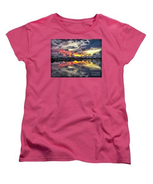 Sunset At Oyster Lake Women's T-Shirt (Standard Cut) by Walt Foegelle