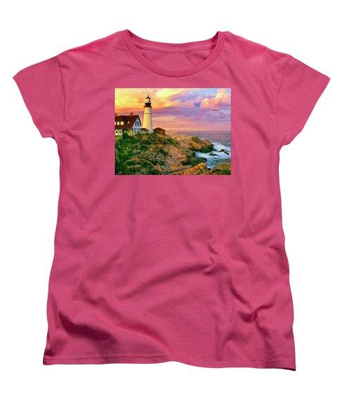 Sunset At Portland Head Women's T-Shirt (Standard Cut) by Dominic Piperata