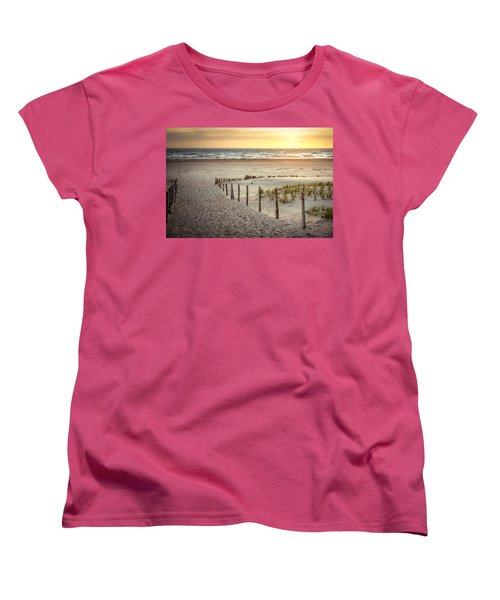 Women's T-Shirt (Standard Cut) featuring the photograph Sunset At The Beach by Hannes Cmarits