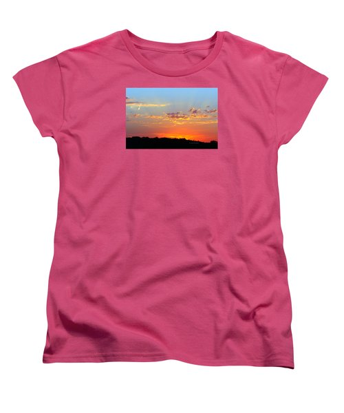 Women's T-Shirt (Standard Cut) featuring the digital art Sunset Glory Orange Blue by Jana Russon
