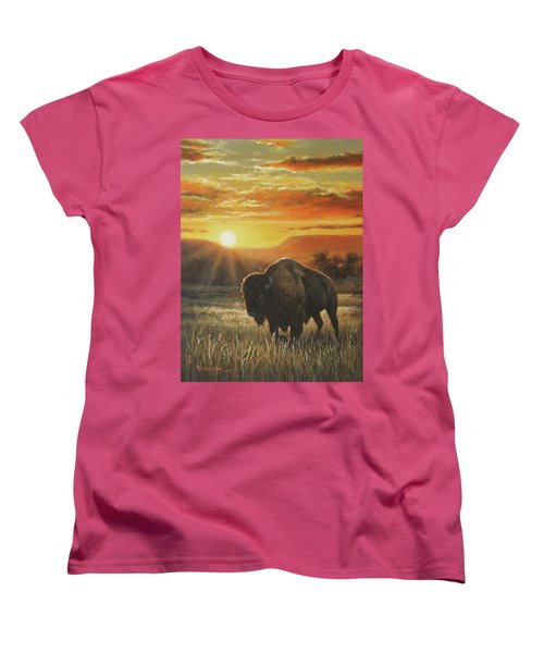 Sunset In Bison Country Women's T-Shirt (Standard Cut) by Kim Lockman