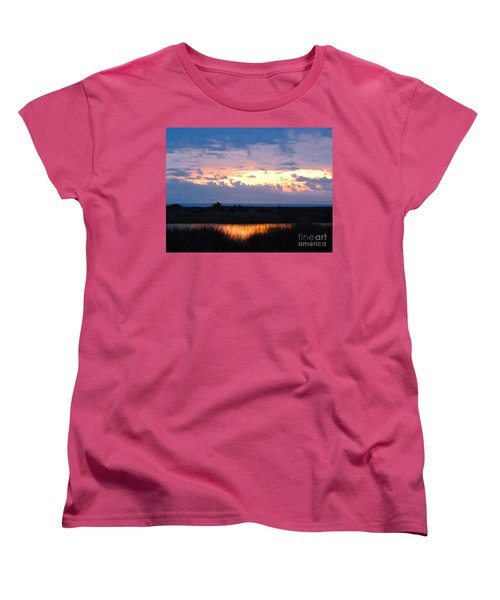 Sunset In The River Sea Beyond Women's T-Shirt (Standard Cut) by Expressionistart studio Priscilla Batzell