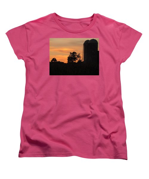 Women's T-Shirt (Standard Cut) featuring the photograph Sunset On The Farm by Teresa Schomig