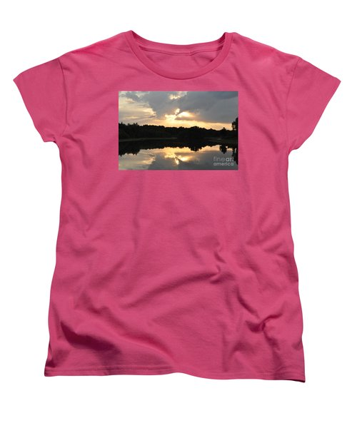 Women's T-Shirt (Standard Cut) featuring the photograph Sunset On The Lakefront by John Black