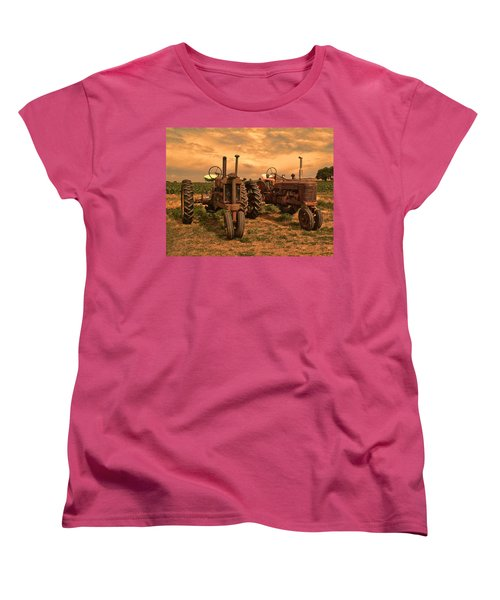 Sunset On The Tractors Women's T-Shirt (Standard Cut) by Ken Smith