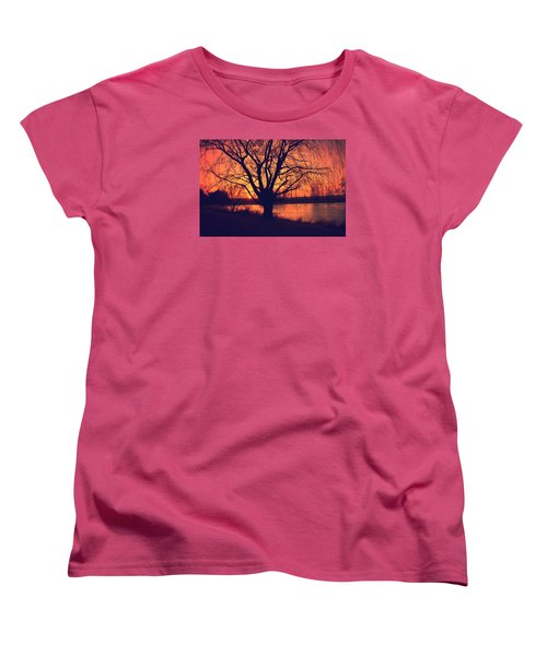 Sunset On Willow Pond Women's T-Shirt (Standard Cut) by Kathy M Krause