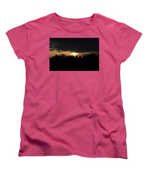 Sunset Over Farm And Trees - Silhouette View  Women's T-Shirt (Standard Cut) by Matt Harang