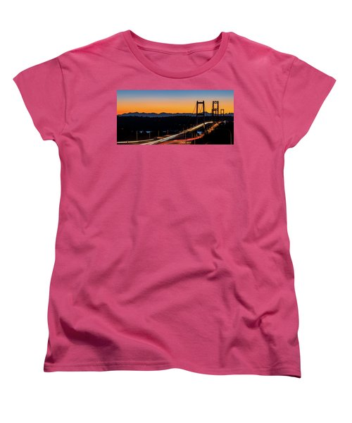 Sunset Over Narrrows Bridge Panorama Women's T-Shirt (Standard Cut) by Rob Green