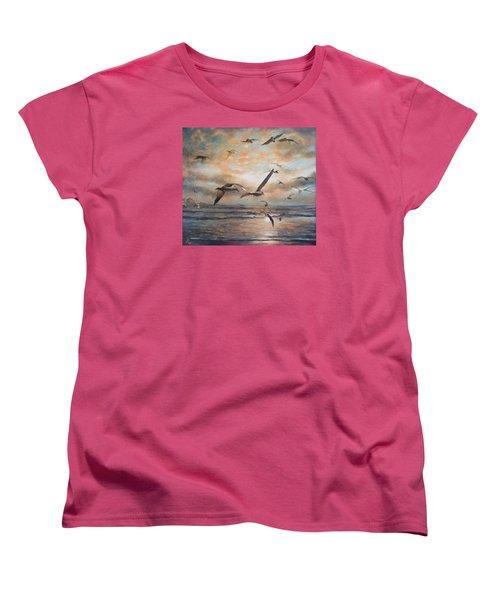 Sunset Over The Sea Women's T-Shirt (Standard Cut) by Vali Irina Ciobanu