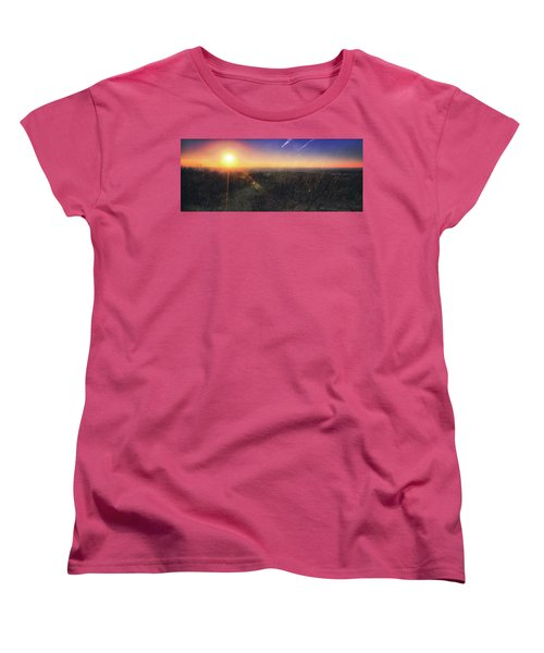 Sunset Over Wisconsin Treetops At Lapham Peak  Women's T-Shirt (Standard Cut) by Jennifer Rondinelli Reilly - Fine Art Photography