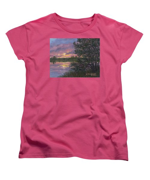 Women's T-Shirt (Standard Cut) featuring the painting Sunset River # 8 by Kathleen McDermott