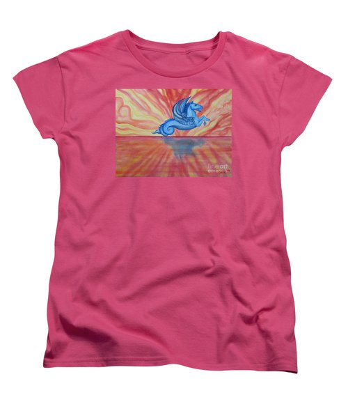 Women's T-Shirt (Standard Cut) featuring the painting Sunset Seahorse by Steed Edwards