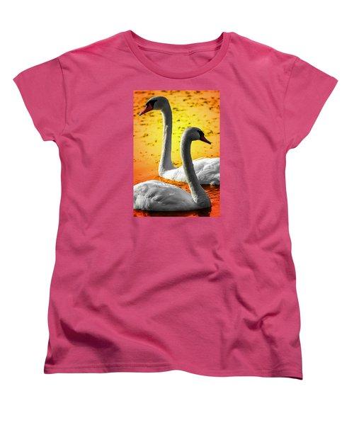 Women's T-Shirt (Standard Cut) featuring the photograph Sunset Swans 2 by Brian Stevens