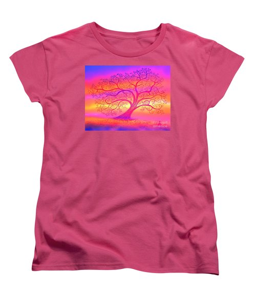 Women's T-Shirt (Standard Cut) featuring the painting Sunset Tree Cats by Nick Gustafson