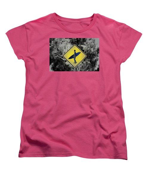 Surfer Xing Women's T-Shirt (Standard Cut) by Joseph S Giacalone