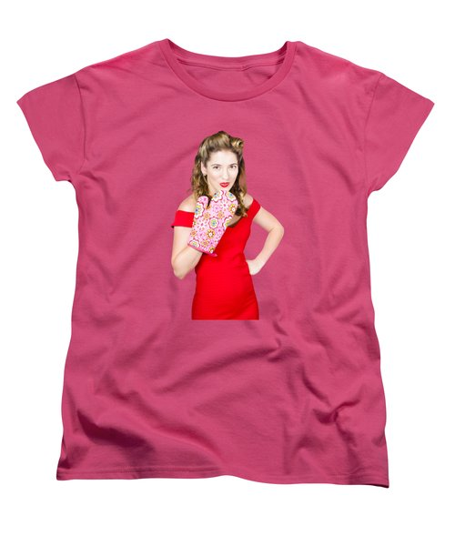Surprise Cooking Pinup Woman With Cook Mitt Women's T-Shirt (Standard Cut) by Jorgo Photography - Wall Art Gallery