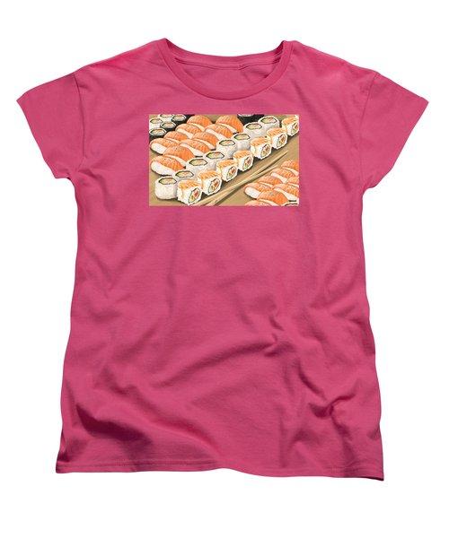 Women's T-Shirt (Standard Cut) featuring the painting Sushi by Veronica Minozzi