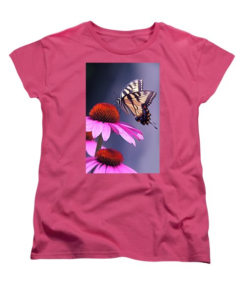 Women's T-Shirt (Standard Cut) featuring the photograph Swallowtail And Coneflower by Byron Varvarigos