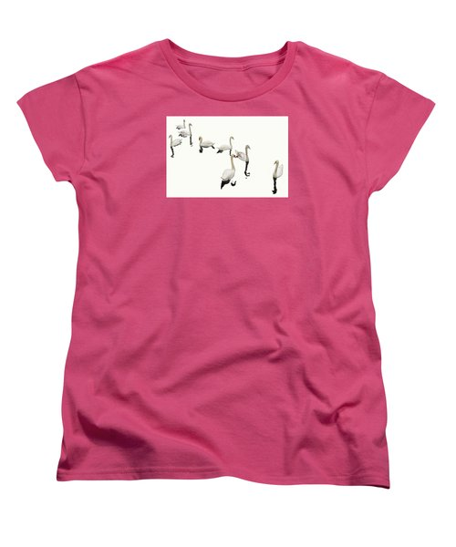 Women's T-Shirt (Standard Cut) featuring the photograph Swan Family On White by Constantine Gregory