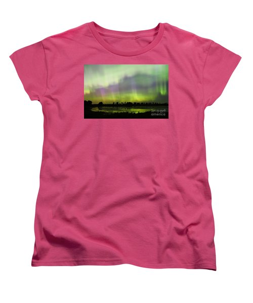 Women's T-Shirt (Standard Cut) featuring the photograph Swirling Curtains 2 by Larry Ricker