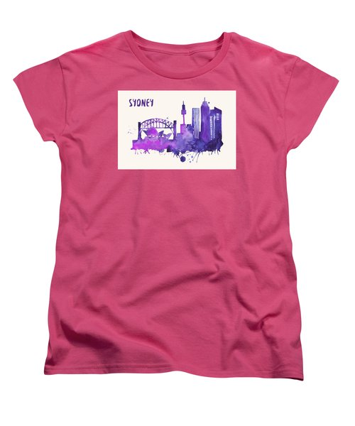 Sydney Skyline Watercolor Poster - Cityscape Painting Artwork Women's T-Shirt (Standard Cut) by Beautify My Walls