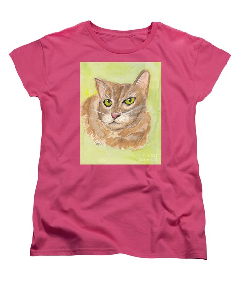 Women's T-Shirt (Standard Cut) featuring the painting Tabby With Attitude by Terry Taylor