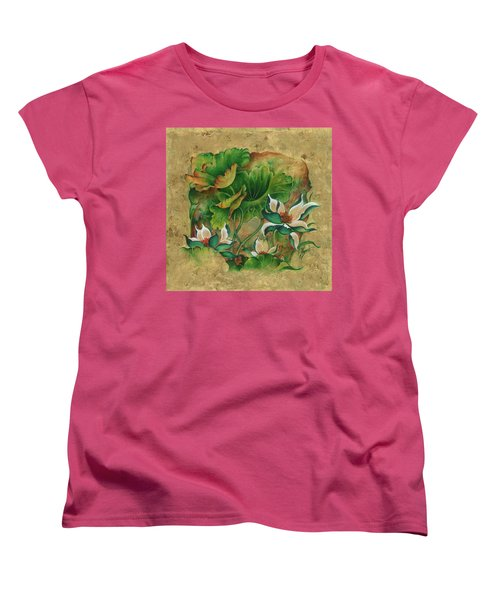 Women's T-Shirt (Standard Cut) featuring the painting Talks About The Essence Of Life by Anna Ewa Miarczynska