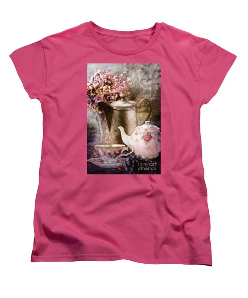 Tea And Grapes Women's T-Shirt (Standard Cut) by Mo T